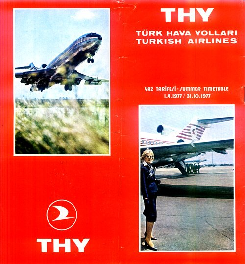 TURKISH AIRLINES - 1977 SUMMER SYSTEM TIMETABLE - RARE