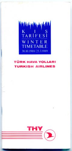 TURKISH AIRLINES - 1988-89 WINTER TIMETABLE - RARE