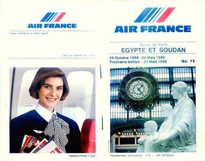 AIR FRANCE - 1988-89  EGYPT & SOUDAN TIMETABLE - RARE