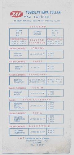 JAT YUGOSLAV AIRLINES -1971 SUMMER LOCAL TIMETABLE FOR TURKEY - ULTRA RARE