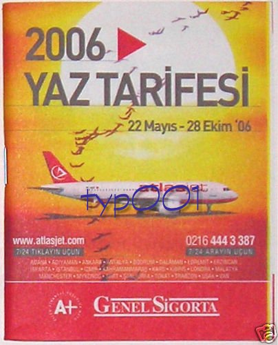ATLAS JET - TURKISH AIRLINE - 2006 SUMMER TIMETABLE