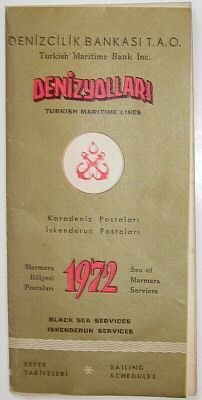 TURKISH MARITIME LINES - 1972 INTERNAL LINES SAILING SCHEDULE