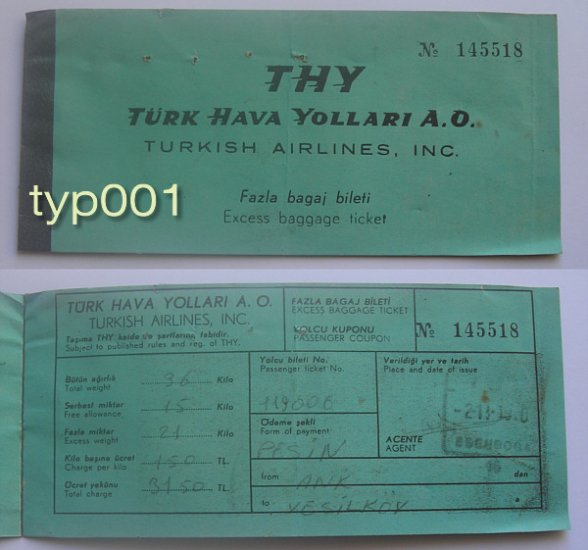 TURKISH AIRLINES - 1960 EXCESS BAGGAGE TICKET - FIRST FORM