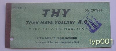 TURKISH AIRLINES - 1962 IZMIR - ISTANBUL ONE WAY TICKET