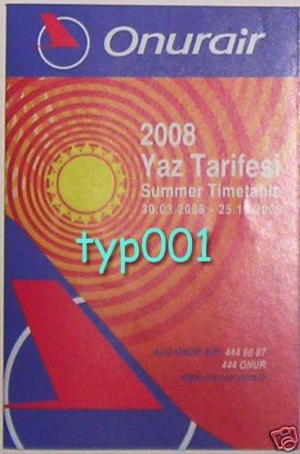 ONUR AIR - TURKISH AIRLINE - 2008 SUMMER TIMETABLE