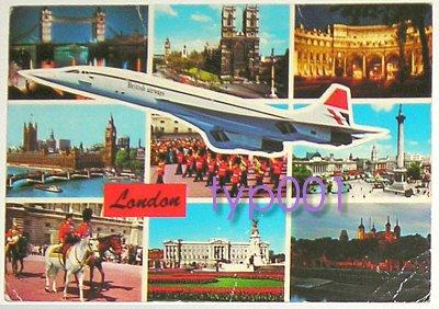 BRITISH AIRWAYS - 1981 CONCORDE OVER LONDON POSTCARD