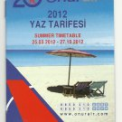 ONUR AIR - TURKEY - 2012 SUMMER TIMETABLE
