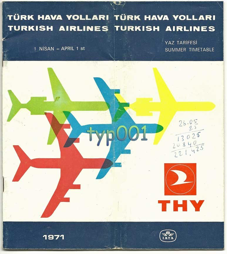 TURKISH AIRLINES - 1971 SUMMER TIMETABLE - RARE
