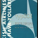 THY TURKISH AIRLINES - 1994-95 WINTER SYSTEM TIMETABLE - 1. EDITION