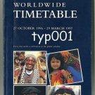 BRITISH AIRWAYS - 1996- 1997 WINTER WORLDWIDE SYSTEM TIMETABLE