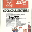 COCA COLA TURKEY 1987 - SELECTS FOR CALGARY WINTER OLYMPICS - TURKISH PRINT AD