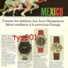 OMEGA WATCHES - 1968 MEXICO OLYMPICS FRENCH PRINT AD - ATHLETES TRUST OMEGA