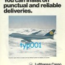 LUFTHANSA CARGO - 1976 YOU CAN INSIST ON PUNCTUAL DELIVERIES PRINT AD B747 CARGO