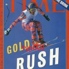 TIME INT'L 1998 NAGANO JAPAN WINTER OLYMPICS COVER - GOLD RUSH - DOWNHILL CHAMP
