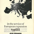 AIR FRANCE 1973 -  EUROPEAN EXPANSION PRINT AD - ROUTE MAP