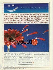 AUSTRIAN AIRLINES - 1998 - EASTERN DESTINATIONS PRINT AD