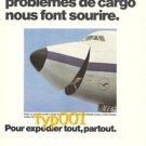 LUFTHANSA - 1974 - SMILING JUMBO 747 CARGO JET PRINT AD - IN FRENCH