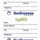 SUNEXPRESS AIRLINES - BAGGAGE LABEL - TURKISH