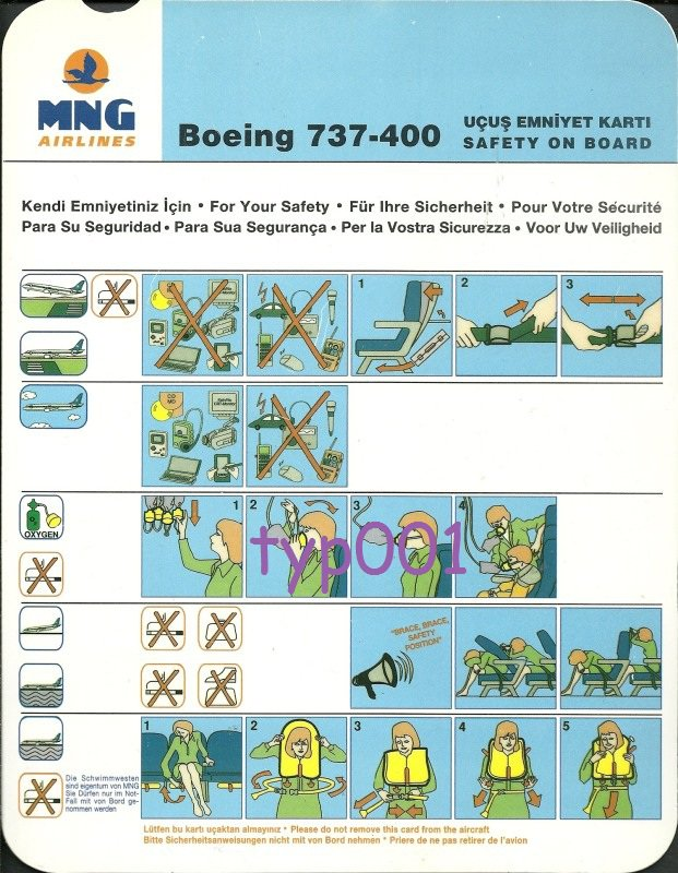 MNG AIRLINES - 2002 - BOEING 737-400 SAFETY CARD - TURKISH