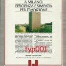 HOTEL MICHELANGELO MILANO - 1984 EFFICIENCY & SYMPATHY FOR TRADITION PRINT AD