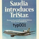 SAUDIA SAUDI ARABIAN AIRLINES - 1975 SAUDIA INTRODUCES LOCKHEED TRISTAR PRINT AD