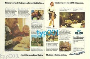KLM - 1975 - TINEKE WORKED DUTCH WONDERS WITH THE KIDS PRINT AD