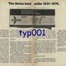 SWISSAIR - 1976 - THE SWISS BEST SELLER 1931-1976 PRINT AD
