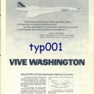 AIR FRANCE - 1976 - VIVE WASHINGTON - FIRST CONCORDE FLIGHT PRINT AD