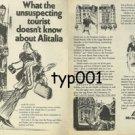 ALITALIA - 1975 WHAT UNSUSPECTING TOURIST DOESN'T KNOW ABOUT ALITALIA PRINT AD