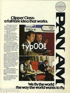 PAN AM - 1979 - CLIPPER CLASS A FULL FARE IDEA THAT WORKS PRINT AD