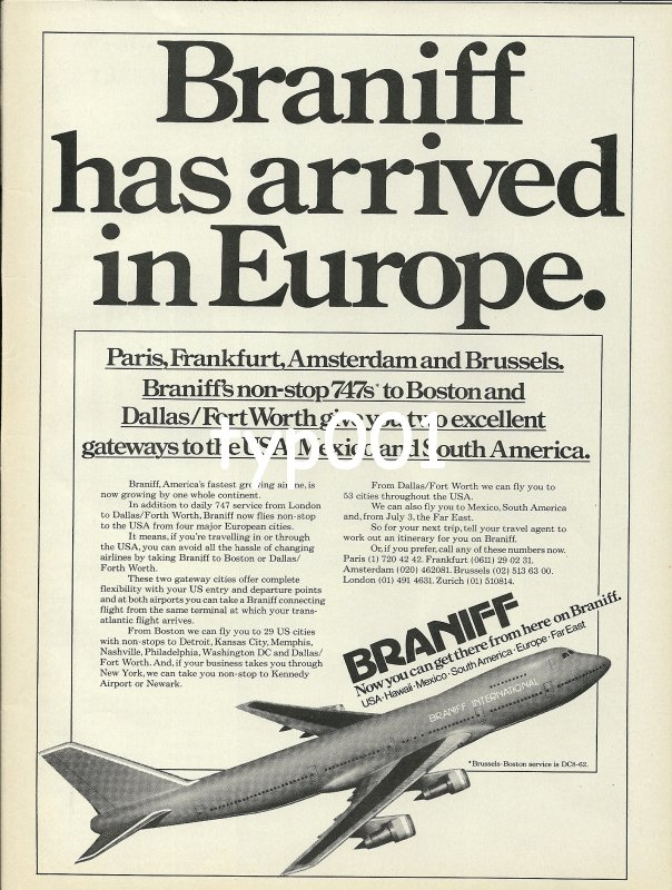 BRANIFF - 1979 - BRANIFF HAS ARRIVED IN EUROPE PRINT AD - 1