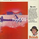 BRITISH AIRWAYS - 1980 SUNRISE IN SINGAPORE SUNDOWN IN TEXAS - CONCORDE PRINT AD