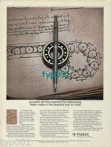PARKER - 1973 - LEONARDO DA VINCI INVENTED THE BALL BEARING PRINT AD