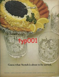 CHIVAS REGAL 1975  GUESS WHAT SCOTCH IS ABOUT TO BE SERVED WITH CAVIAR PRINT AD