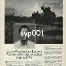 WORLD WILDLIFE FUND - 1980 - GAME WARDEN MURDERED BY RHIN0 POACHERS PRINT AD