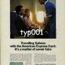 SABENA - AMERICAN EXPRESS -1985 - TRAVELLING SABENA WITH AMEX CARD PRINT AD