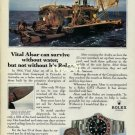 ROLEX - 1990 - VITAL ALSAR CAN SURVIVE W/O WATER BUT NOT W/O HIS ROLEX PRINT AD
