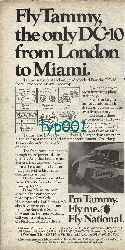 NATIONAL AIRLINES - 1974 FLY TAMMY THE ONLY DC-10 FROM LONDON TO MIAMI PRINT AD