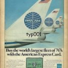 PAN AM - AMERICAN EXPRESS 1975 -  BUY THE WORLD'S LARGEST FLEET OF 747S PRINT AD