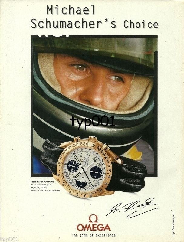 OMEGA - 1998 - MICHAEL SCHUMACHER'S CHOICE SPEEDMASTER PRINT AD -  FORMULA 1