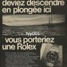 ROLEX - 1968 -  IF YOU WERE TO DIVE HERE TOMORROW YOU'D WEAR A ROLEX PRINT AD