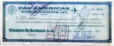 PAN AM - 1962 COMPANY CHEQUE ISBANK ANKARA TURKEY