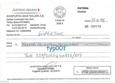 AUSTRIAN AIRLINES - 1999 INVOICE ISTANBUL TURKEY OFFICE