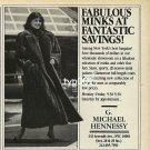 MICHAEL HENNESSY FURS - RITZ THRIFT SHOP - 1988 - LADY IN MINK FUR COAT PRINT AD