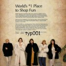 JINDO FURS - 1986 - WORLD'S #1 PLACE TO SHOP FURS PRINT AD