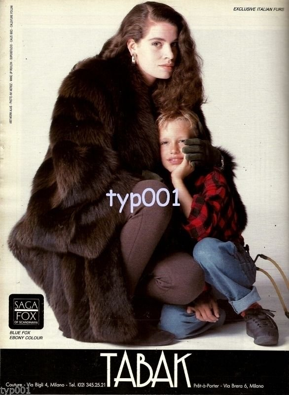 TABAK FURS - 1986 - ITALIAN FURS BLUE FOX EBONY COLOR SAGA SCANDINAVIA PRINT AD