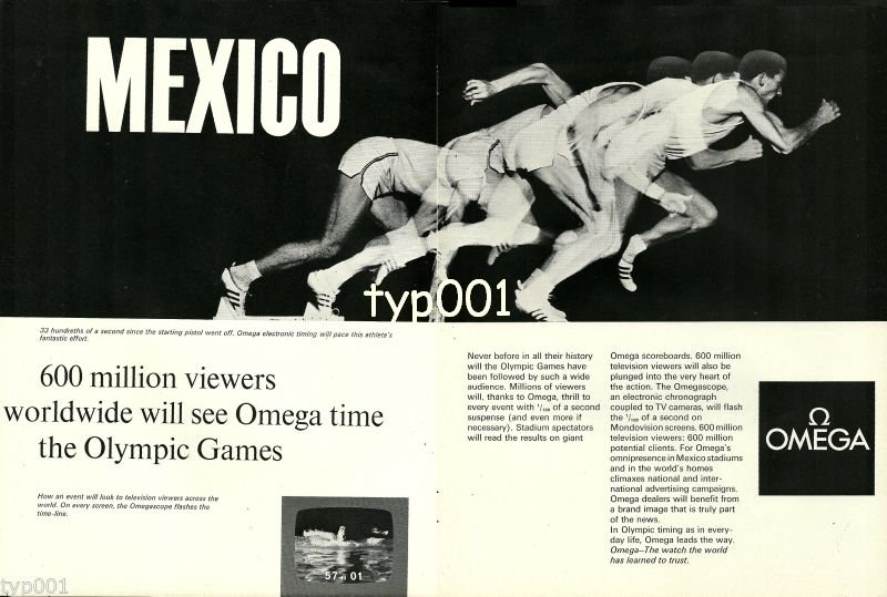 OMEGA - 1968 MEXICO OLYMPICS 600 MILLION VIEWERS WILL SEE OMEGA TIME PRINT AD