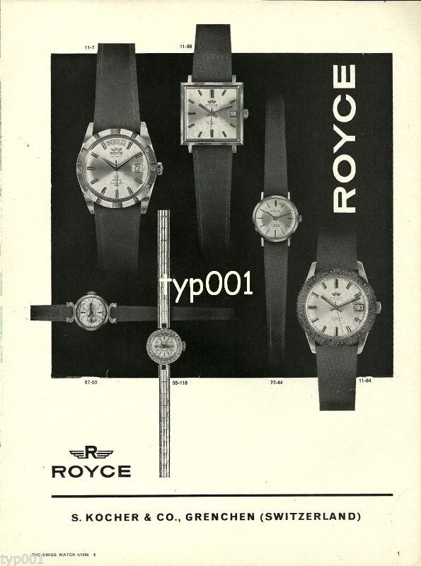 ROYCE - 1968 - VINTAGE SWISS WATCHES PRINT AD