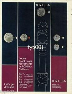ARLEA - 1968 - LOOSE CLOCWORK MOVEMENTS IN RONDA CALIBRES WATCH VINTAGE PRINT AD