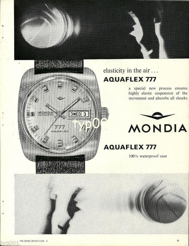 MONDIA - 1968 - ELASTICITY IN THE AIR AQUAFLEX 777 WATCH VINTAGE PRINT AD